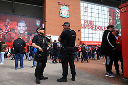 Armed Police on patrol outside Anfield, Liverpool.