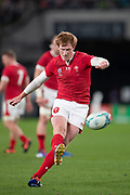 Rhys Patchell of Wales kicks the ball during the Rugby World Cup bronze final match between New Zealand and Wales Friday, Nov, 1, 2019, in Tokyo. New Zealand defeated Wales 40-17.  (Flor Tan Jun/Espa-Images-Image of Sport)