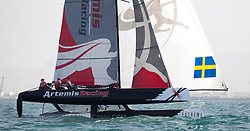 Second day of Racing, 21st of February. Extreme Sailing Series, Act 1, Muscat, Oman (20 - 24 February 2011)  Sander van der Borch / Artemis Racing