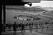 Bloody Sunday Commemoration before Dublin and Tipperary Final. The scene beneath Hill 16 as Fr. tom Walshe, O.P. Chaplain, Dublin Brigade, Old I.R.A., recited the rosary.<br /> 21.11.1965