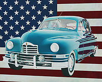 Packard was a popular car brand during the 1940s and with the Packard Eight Sedan also very successful. A Packard Eight Sedan is now highly sought after by collectors and is in a perfectly restored condition. A Packard Eight Sedan is also regularly refitted by racing enthusiasts.<br /> <br /> This painting of the Packard Eight Sedan, built in 1948, with the American flag in the background, can be purchased in various sizes and printed on canvas as well as wood and metal. You can also have the painting finished with an acrylic plate over it which gives it more depth. -<br /> -<br /> BUY THIS PRINT AT<br /> <br /> FINE ART AMERICA<br /> ENGLISH<br /> https://janke.pixels.com/featured/packard-eight-sedan-1948-with-flag-of-the-usa-jan-keteleer.html<br /> <br /> <br /> WADM / OH MY PRINTS<br /> DUTCH / FRENCH / GERMAN<br /> https://www.werkaandemuur.nl/nl/shopwerk/Packard-Eight-Sedan-1948-met-vlag-van-de-V-S-/665458/132?mediumId=1