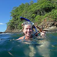 Central America, Costa Rica, Tamarindo. Female snorkeller in Costa Rica.