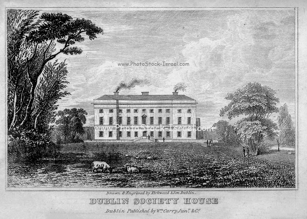 DUBLIN SOCIETY HOUSE, from Merrion-square From the guide book ' The new picture of Dublin : or Stranger's guide through the Irish metropolis, containing a description of every public and private building worthy of notice ' by Hardy, Philip Dixon, 1794-1875. Published in Dublin in 1831 by W. Curry.