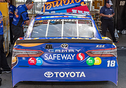 June 22, 2018 - Sonoma, CA, U.S. - SONOMA, CA - JUNE 22: The crew for Kyle Busch, driving the (18) Toyota for Joe Gibbs Racing does final preparations on Friday, June 22, 2018 at the Toyota/Save Mart 350 Practice day at Sonoma Raceway, Sonoma, CA (Photo by Douglas Stringer/Icon Sportswire) (Credit Image: © Douglas Stringer/Icon SMI via ZUMA Press)