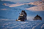 Charlotte Crosby TLC Travel show Day two of the Igloolik Expedition. Charlotte on the back of a skidoo returning home