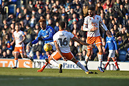 Portsmouth Forward, Jamal Lowe (18) with a shot at goal during the EFL Sky Bet League 1 match between Portsmouth and Blackpool at Fratton Park, Portsmouth, England on 24 February 2018. Picture by Adam Rivers.