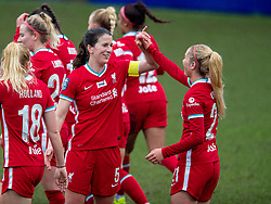 BIRKENHEAD, ENGLAND - Sunday, March 14, 2021: Liverpool's captain Niamh Fahey (L) celebrates with team-mate Missy Bo Kearns after scoring the first goal during the FA Women's Championship game between Liverpool FC Women and Coventry United Ladies FC at Prenton Park. Liverpool won 5-0. (Pic by David Rawcliffe/Propaganda)