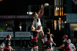 Ulster Rugby's Alan O'Connor claims the lineout<br /> <br /> Photographer Simon King/Replay Images<br /> <br /> Guinness Pro14 Round 10 - Dragons v Ulster - Friday 1st December 2017 - Rodney Parade - Newport<br /> <br /> World Copyright © 2017 Replay Images. All rights reserved. info@replayimages.co.uk - www.replayimages.co.uk