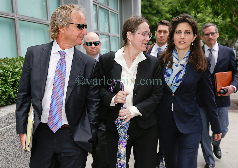 12 June  2015. New Orleans, Louisiana. <br /> L/R Attorney Randy Smith, Renee LeBlanc and Rita Benson LeBlanc leave Civil District Court on the last day of a hearing to determine the competency of grandfather/father Tom Benson. Benson is the billionaire owner of the NFL New Orleans Saints, the NBA New Orleans Pelicans, various auto dealerships, banks, property assets and a slew of business interests. Rita, her brother and mother demanded a competency hearing after Benson changed his succession plans and decided to leave the bulk of his estate to third wife Gayle, sparking a controversial fight over control of the Benson business empire.<br /> Photo©; Charlie Varley/varleypix.com
