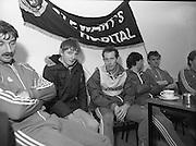 Ireland Soccer Team Training.1983.14.11.1983.11.14.1983.14th November 1983..The Ireland Soccer team trained, for the forthcoming match against Malta, at Stewarts Hospital,Palmerstown Dublin..Image of a fan posing for a photo alongside Liam Brady