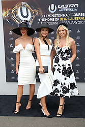 AU_1391515 - Melbourne, AUSTRALIA  -  AAMI Victoria Derby Day celebrities and VIPs in the Birdcage.<br /> <br /> Pictured: Brittany Hockley, Sophie Tieman and Cassandra Wood<br /> <br /> <br /> <br /> BACKGRID Australia 3 NOVEMBER 2018 <br /> <br /> BYLINE MUST READ: Richard Milnes / BACKGRID<br /> <br /> Phone: + 61 2 8719 0598<br /> Email:  photos@backgrid.com.au