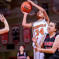 020114       Cable Hoover<br /> <br /> Gallup Bengal Ni'Asia McIntosh (34) knocks Grants Pirate Brianna Fank (12) aside as she drives in a layup Saturday at Gallup High School.