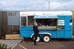 Trailer selling coffee and cakes outside Drift cafe near North Berwick in East Lothian, Scotland, UK