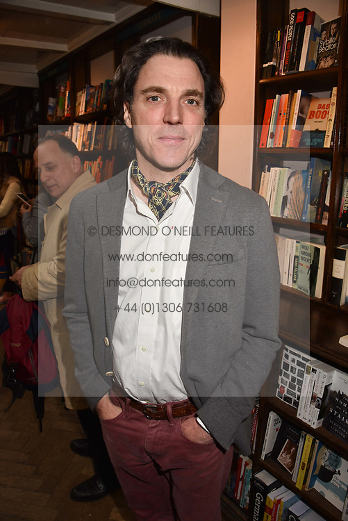 Sacha Newley at a party to celebrate the publication of Saving The World by Paola Diana at Daunt Books, Marylebone, London England. 2 May 2018.