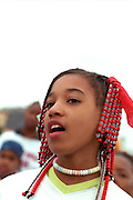 Songstress age 13 performing at the Cinco de Mayo festival.  St Paul Minnesota USA