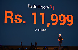 Vice President of Xiaomi International Hugo Barra unveils the price of high version of the Redmi Note 3 cellphone during its launch ceremony in New Delhi, capital of India, March 3, 2016. Chinese smartphone maker Xiaomi launched the specialized model equipped with Qualcomm Snapdragon 650 processor for India here on Thursday. EXPA Pictures © 2016, PhotoCredit: EXPA/ Photoshot/ Bi Xiaoyang<br />
