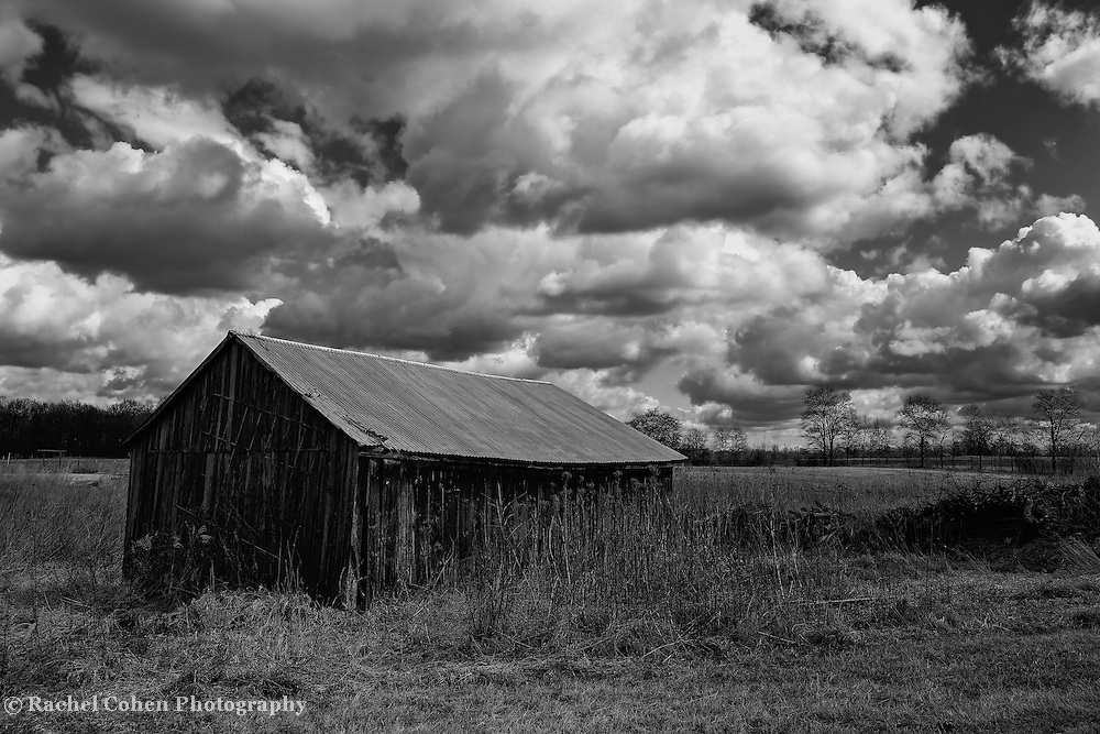 """""""Tin Roof Barn""""<br /> <br /> Darkness and light abound in this black and white version of a beautiful Midwestern farm on an early spring day. Lots of sky drama make this even more exciting!"""