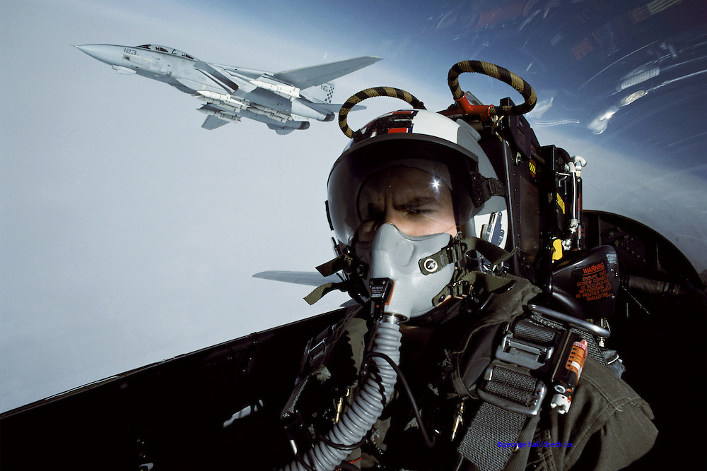 Self-portrait, Tom Twomey with an F-14 at his 4 o'clock.