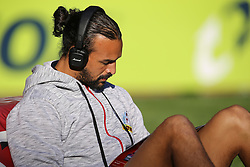 Dillyn Leyds of the DHL Stormers sits in the late afternoon sun reading the official programme before the team warm-up during the Vodacom Super Rugby match between the DHL Stormers and the Emirates Lions at DHL Newlands in Cape Town, South Africa, Saturday May 26 2018. <br /> (Roger Sedres/ANA)