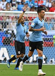 SAMARA, June 25, 2018  Luis Suarez (L) of Uruguay celebrates scoring during the 2018 FIFA World Cup Group A match between Uruguay and Russia in Samara, Russia, June 25, 2018. (Credit Image: © Du Yu/Xinhua via ZUMA Wire)