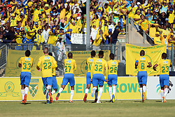 11/08/2018. Mamelodi Sundowns FC players celebrate a goal during their MTN8 quater finals game against Lamola of Lamontville Golden Arrows FC at Lucas Moripe Stadium.<br /> Picture: Oupa Mokoena/African News Agency (ANA)