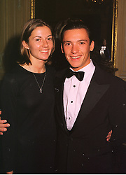 MR & MRS FRANKIE DETTORI, he is the top jockey, at a dinner in London on 17th November 1998.MMB 42