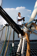 Pictures of Fahed Al Hasni, trimer onboard the Musandam - Oman Sail MOD70. Shown here in action during the Krys Ocean Race prologue from Newport Rhode Island - NYC