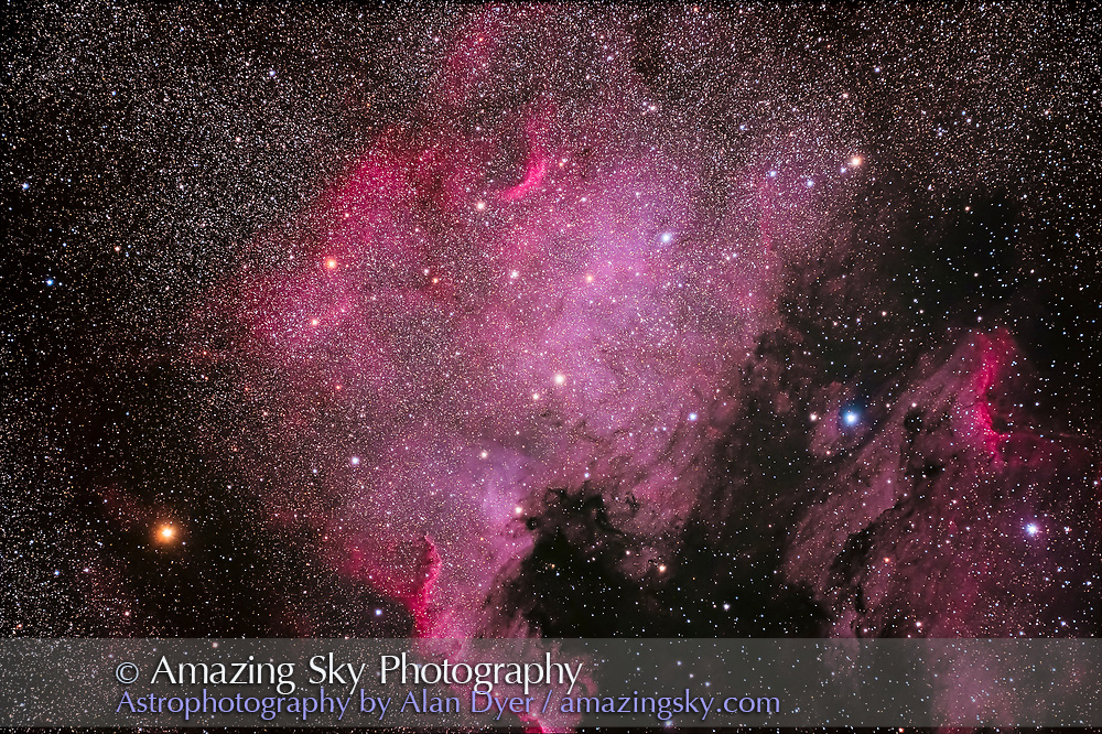 """The North America Nebula, NGC 7000, in Cygnus, taken with the new Canon EOS Ra factory-modified """"astronomical"""" version of the Canon EOS R mirrorless camera. Taken as part of testing. This is a stack of 4 x 6-minute exposures, with LENR on and at ISO 1600, through the Astro-Physics Traveler 105mm f/6 apo refractor with the Hutech field flattener."""