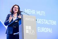23 NOV 2018, BERLIN/GERMANY:<br /> Andrea Nahles, MdB, SPD Parteivorsitzende, haelt eine Rede, Deutscher Arbeitgebertag 2018, Vereinigung Deutscher Arbeitgeber, BDA, Estrell Convention Center<br /> IMAGE: 20181123-01-493