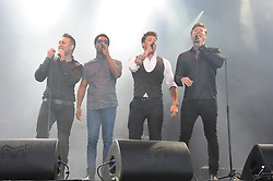 © Licensed to London News Pictures. 16/07/2015<br /> Rochester Castle Concerts,Rochester,Kent<br /> blue singing.<br /> ltr<br /> Antony Costa,Simon Webbe, Duncan James,Lee Ryan<br /> (Byline:Grant Falvey/LNP)