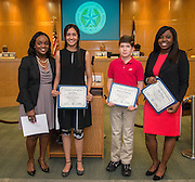 Members of the Lanier Middle School Vocabulary.com team pose for a photograph during a meeting of the Board of Trustees, June 9, 2016.