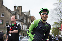 Dani King (GBR) of Cylance Pro Cycling catches her breath after finishing in tenth place in the Tour de Yorkshire - a 122.5 km road race, between Tadcaster and Harrogate on April 29, 2017, in Yorkshire, United Kingdom.