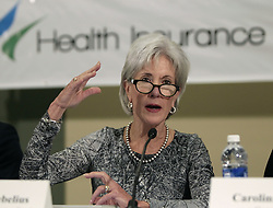 Oct. 25, 2013 - San Antonio, Texas, USA - 10/25/13 - Health and Human Services Secretary Kathleen Sebelius speaks at the CentroMed Health and Wellness Center in San Antonio, Texas Friday October 25 , 2013. Secretary Sebelius visited the health center that day and said improvements have been made to HealthCare.gov, the government health care online marketplace. (Credit Image: © Erich Schlegel/ZUMAPRESS.com)