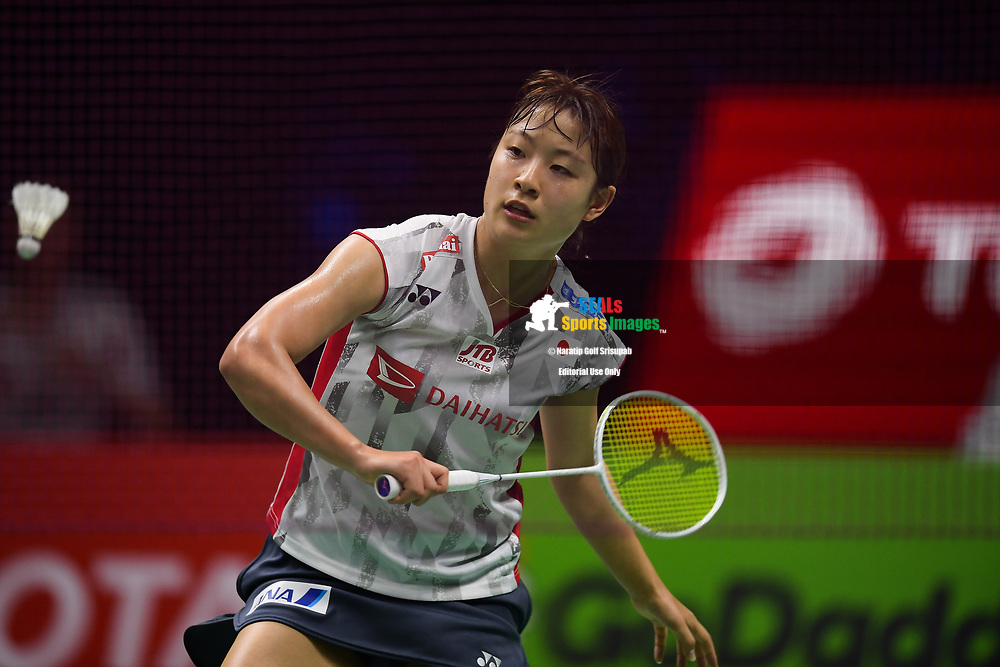 BANGKOK, THAILAND - MAY 26: Nozomi Okuhara of Japan in action on Court 1 during her Uber Cup Finals match against Nitchaon Jindapol of Thailand at the BWF Total Thomas and Uber Cup Finals 2018, Impact Arena , Bangkok, Thailand on May 26, 2018.<br /> .<br /> .<br /> .<br /> Photo by: Naratip Golf Srisupab/SEALs Sports Images<br /> <br /> .<br /> All photo must include a credit line adjacent to the content: Naratip Golf Srisupab/SEALs Sports Images