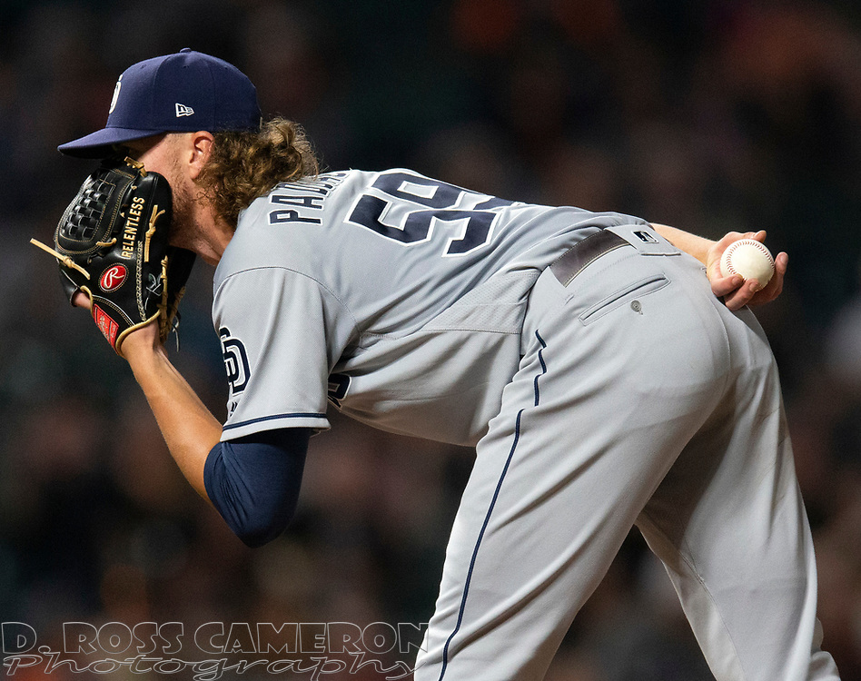 San Diego Padres starting pitcher Chris Paddack (59) looks in for the sign from his catcher during the seventh inning of a baseball game, Thursday, Aug. 29, 2019, in San Francisco. The Padres won 5-3. (AP Photo/D. Ross Cameron)