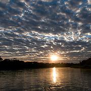 Sunrise over the Cuiaba river, Pantanal, Brazil.