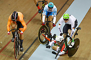 Men Keirin, Joachim Eilers (Germany) - Sandor Szalontay (Hungary) crash - Sergii Omelchenko (Azerbaijan) - Sam Ligtlee (Netherlands) , during the Track Cycling European Championships Glasgow 2018, at Sir Chris Hoy Velodrome, in Glasgow, Great Britain, Day 6, on August 7, 2018 - Photo luca Bettini / BettiniPhoto / ProSportsImages / DPPI<br /> - Restriction / Netherlands out, Belgium out, Spain out, Italy out -