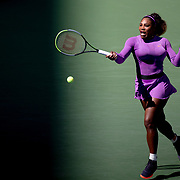 2019 US Open Tennis Tournament- Day Five.  Serena Williams of the United States in action during her match against Carolina Muchova of the Czech Republic in the Women's Singles Round Three match on Arthur Ashe Stadium at the 2019 US Open Tennis Tournament at the USTA Billie Jean King National Tennis Center on August 30th, 2019 in Flushing, Queens, New York City.  (Photo by Tim Clayton/Corbis via Getty Images)