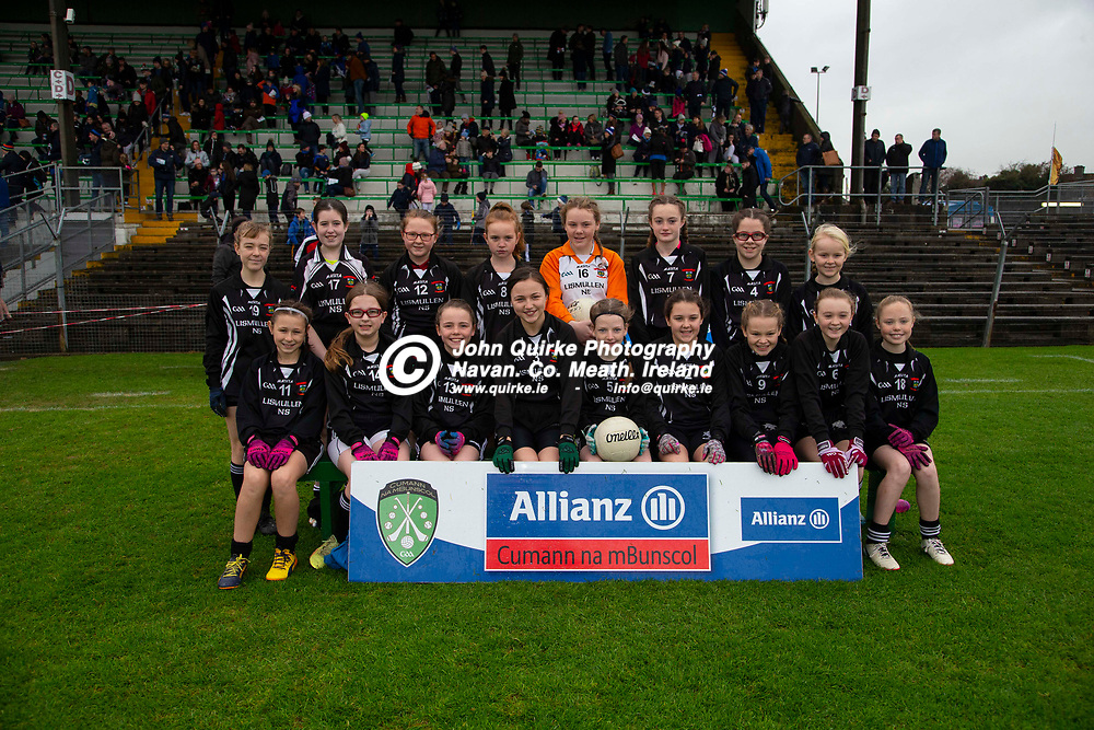 23/11/2019, Cumann na mBunscol Primary School Finals at Pairc Tailteann, Navan<br /> Game 2: Girls Division 2 Football Final Kilcloon N.S. vs Lismullen N.S.<br /> Lismullen N.S. team, Back Row, L-R, Emily Montgomery, Mia Byrne, Rachel Lee, Ali Browne, Siun Murtagh, Eleanor Hussey, Tara Sullivan, Aoife Barry.<br /> Front Row, L-R, Emma Maher, Grace Lawlor, Emily Crosby-Cleary, Ava Darby, Niamh McGuinness, Isabella Hamilton, Lilly Hobbs, Sophie Montgomery, Nicole Clarke.<br /> Photo: David Mullen / www.quirke.ie ©John Quirke Photography, Unit 17, Blackcastle Shopping Cte. Navan. Co. Meath. 046-9079044 / 087-2579454.<br /> ISO: 800; Shutter: 1/200; Aperture: 5.6; <br /> File Size: 3.5MB