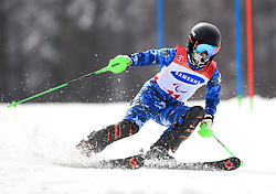 Korea's Jae Rim Yang competes in the Women's Slalom, Visually Impaired at the Jeongseon Alpine Centre during day nine of the PyeongChang 2018 Winter Paralympics in South Korea