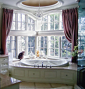 Feline pet sitting on window sill in upscale bathroom, complete with large windows and soaker tub.