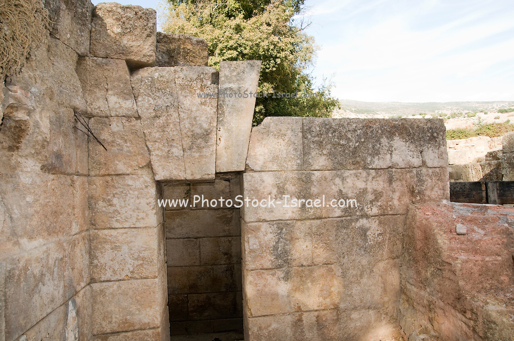 The Palace of Agrippa II from the first century. The 3 wedge shaped voussoirs (keystones) are visible above the passage,  CE Photographed at the Hermon Stream Nature reserve and Archaeological Park (Banias) Golan Heights Israel
