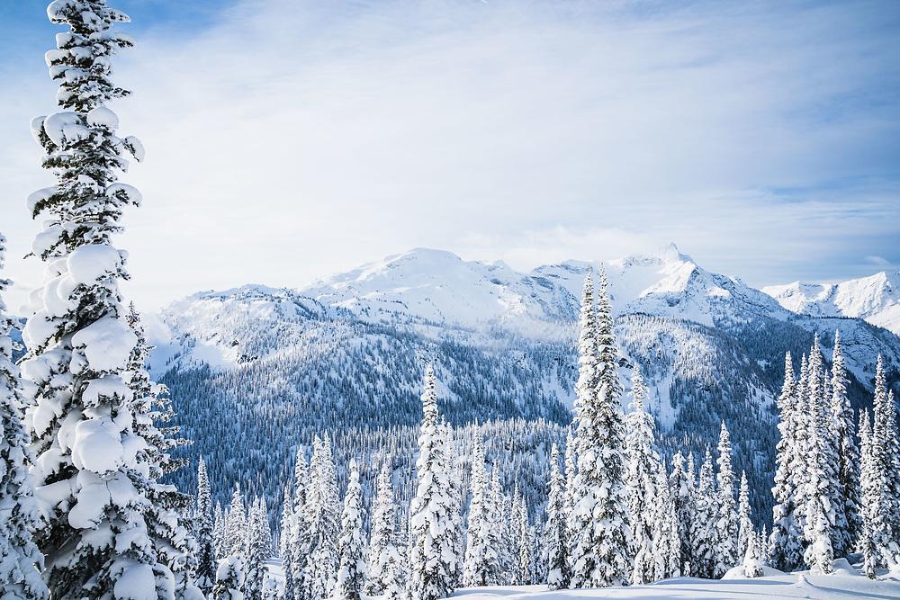 Twin Peaks, Sol Mountain and Pride Rock, Sol Mountain Lodge, Monashee Range, British Columbia.
