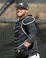 GLENDALE, ARIZONA - FEBRUARY 22:  Wellington Castillo #53 of the Chicago White Sox looks on during a during spring training workout February 22, 2018 at Camelback Ranch in Glendale Arizona.  (Photo by Ron Vesely)  Subject:   Wellington Castillo