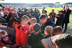 6th January 2018 - FA Cup - 3rd Round - Fleetwood Town v Leicester City - Former Fleetwood striker Jamie Vardy of Leicester is surrounded by young fans and photographers as he signs autographs before the game - Photo: Simon Stacpoole / Offside.