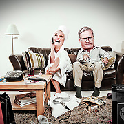 Caricature like figure of a dad getting frustrated by the mess and intrusion of his daughter in his home.
