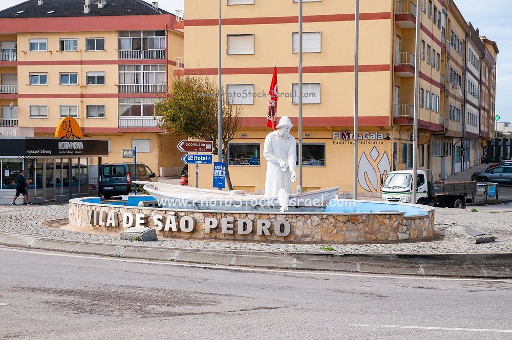 Statue of a fisherman at Vila de Sao Pedro, Portugal south of Figueira da Foz