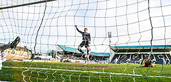 Falkirk's Mark Beck helps to celebrate Rory Loy's goal for Falkirk's third.<br /> Raith Rovers 2 v 4 Falkirk, Scottish Championship game today at Starks Park.<br /> © Michael Schofield.