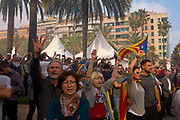 Catalonia declares independence from Spain - crowds near the Parc de Cuitadella  Barcelona, on October 27, after the Catalan Parliament ratifies the Yes outcome of the independence referendum held on October 1st.