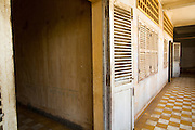 30 JANUARY 2013 - PHNOM PENH, CAMBODIA:  An open door leading to a cell in the Toul Sleng Genocide Museum. The Tuol Sleng Genocide Museum is in Phnom Penh. It is a former high school that was used as the Security Prison 21 (S-21) by the Khmer Rouge from 1975 to 1979. It was used to torture and execute Cambodians and foreigners the Khmer Rouge thought were opposed to the regime.    PHOTO BY JACK KURTZ